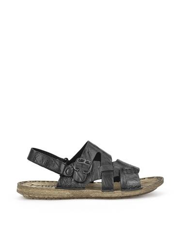 Ziya  Erkek Hakiki Deri Sandalet 111122 7014  Siyah